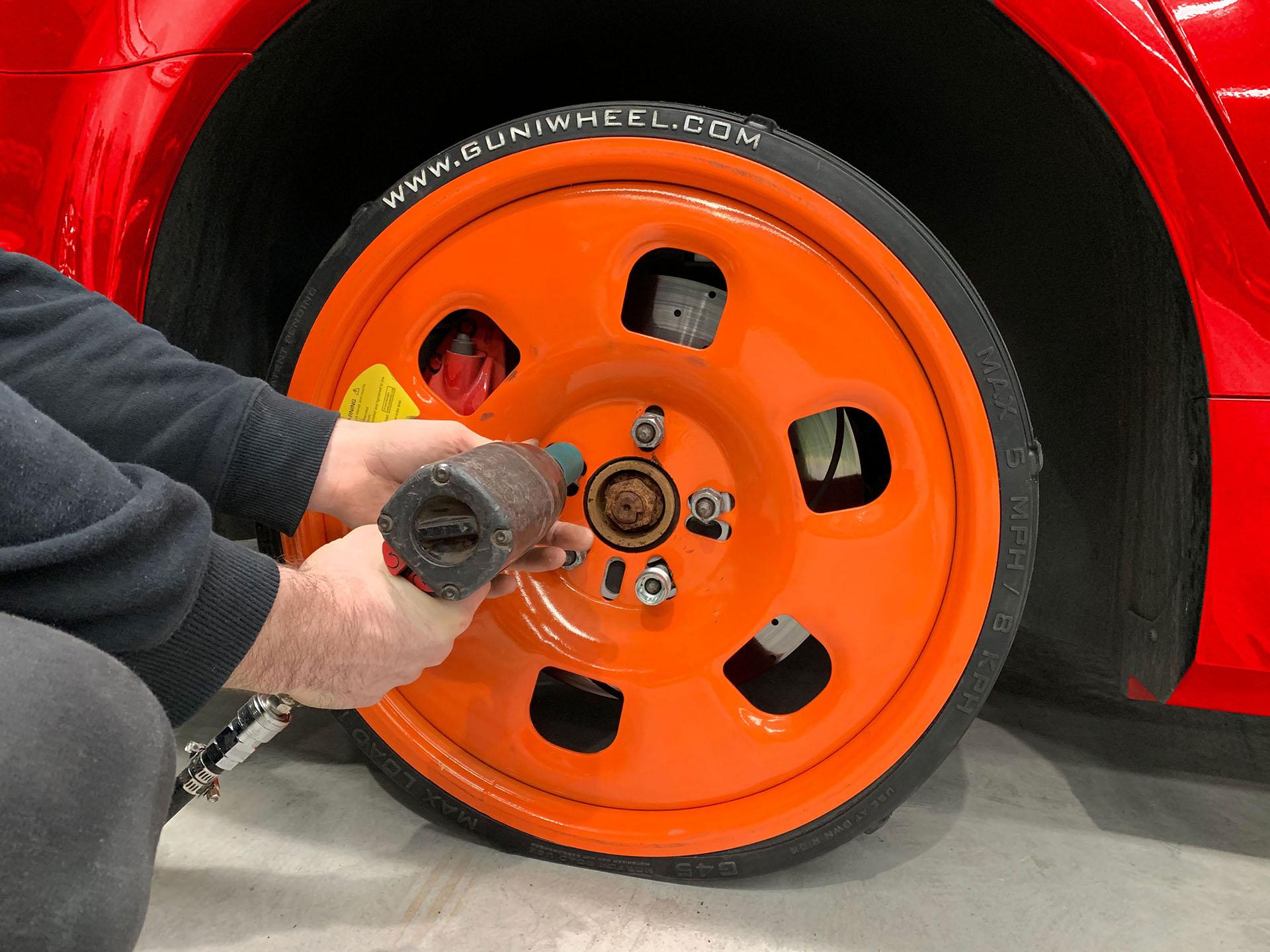 technician installing Guniwheel